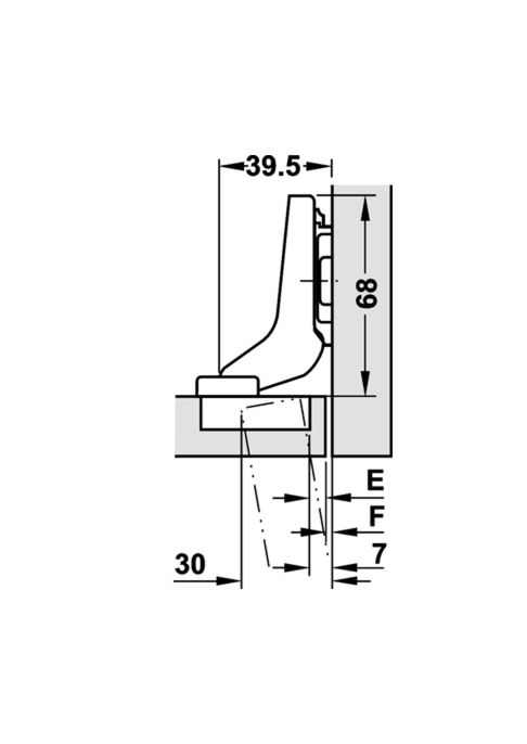 Top Keukenkast scharnier inliggende montage met softclose | Voormeubels CB58
